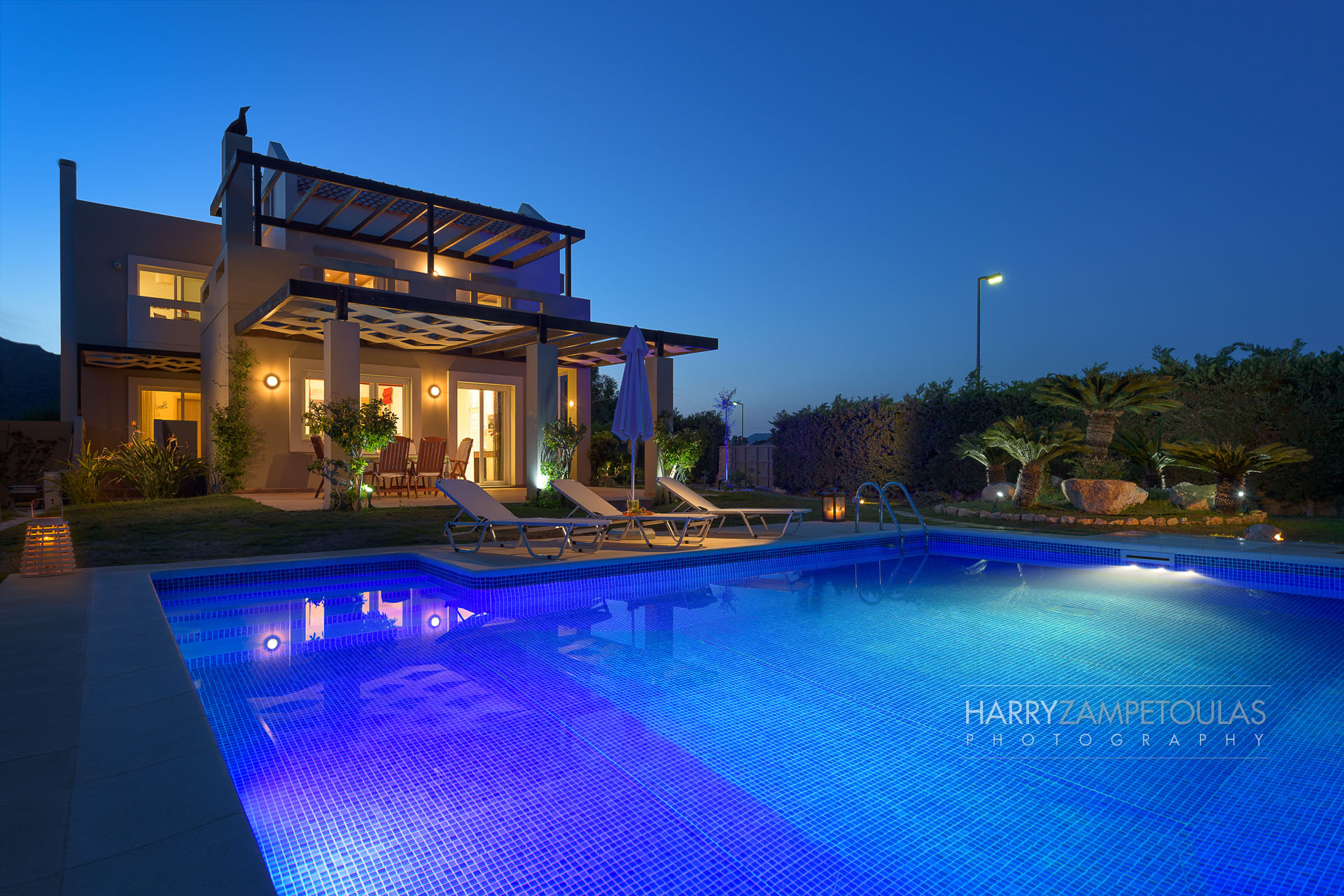 House in Afandou with Pool - Exterior-Night